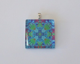 Glass Tile Pendant Necklace -  Blue Kaleidoscope No. T-9
