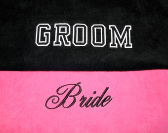BRIDE & GROOM BEACH Towels Embroidered 100% cotton terry velour Bridal or Couple Shower or Wedding Gifts - Made to Order