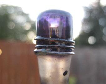 stoursglass  Deep Purple Hollow Top Pendulum Lampwork  Bead