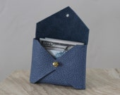 Periwinkle blue leather handmade business card holder, envelope style case
