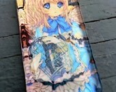 Victorian Steampunk Anime Girl in Blue Glass Pendant