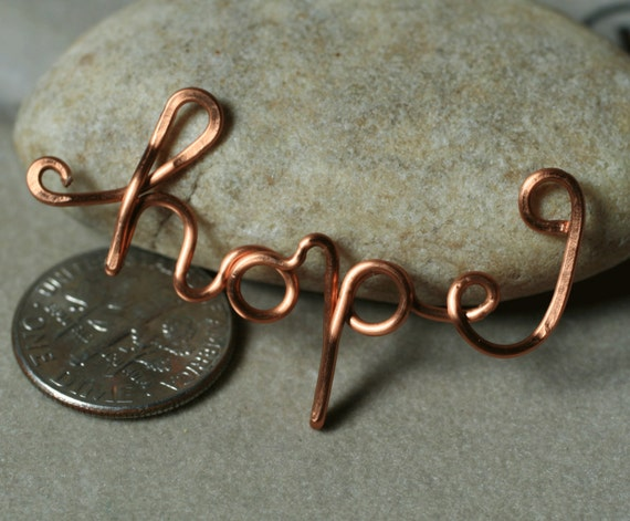 Handmade solid copper HOPE pendant drop connector charm, one piece (item ID LChope94)