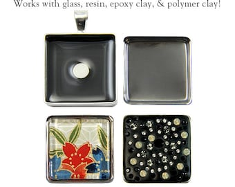 """MagnetaBelles Square Magnetic Pendant Trays. Includes two 1"""" square inserts with glass. Limited Introductory Price."""