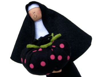 Nun Doll sister doll Catholic gift pincushion Forgive us our Pins