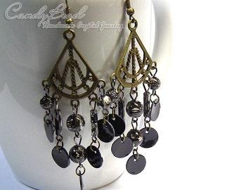 Chandelier Earrings, Black Beads and Shells Antique Brass Earrings