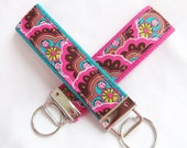 Wristlet Key Fob Key Chain in Kaleidescope - Modern Bright Colors - Fabric Keychain on your choice of webbing