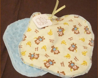 Washcloth Set of Minky and Flannel  Set of 2 for Boy / Unisex with Bubble Dot Velour and Cotton-Flannel