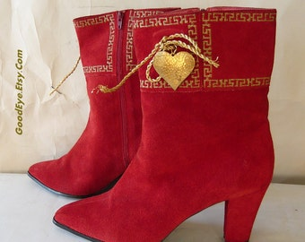 Vintage Red Suede Ankle Boots size 9 B Eu 40 Leather High Heel HEARTS UK 6.5