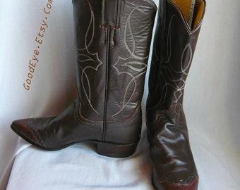 Very Fine Vintage Leather and Lizard Western Boots size 6 Eu 36  Uk 3.5 BILLY MARTIN Cowboy Justin Rockabilly USA