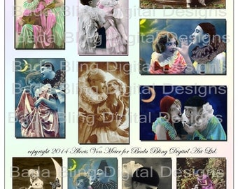 Bring In The Clowns, alered art digital collage sheets of Pierrot...  INSTANT DOWNLOAD at Checkout