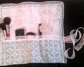 OOAK Teal and White Damask Hime Lolita Lace Make up Brush Roll organizer - one of a kind make up artist Marie Antoinette Shabby Chic