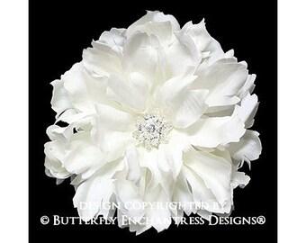 Creamy White Peony Bridal Hair Flower Clip - Starfire Rhinestone