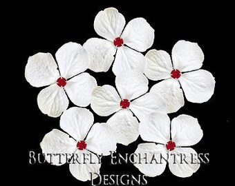 Bridesmaid Flowers, Bridal Hair Accessories, Wedding Hairpins - 6 White Hydrangea Hair Pins - Red Rhinestone Centers