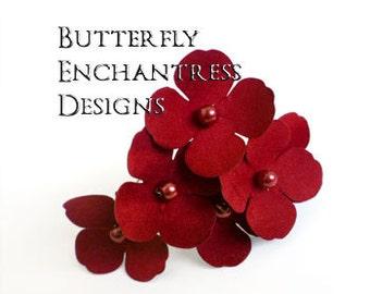 Red Bridal Hair Accessories, Headpiece, Rustic Woodland Wedding - 6 Red Adora Hydrangea Hair Pins - Pearl Centers