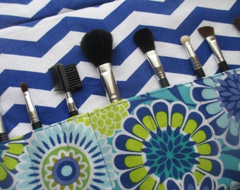 Makeup brush holder , makeup brush roll, Crochet hook organizer, chevron
