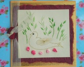 Hand Embroidered Birthday Greetings Card - Golden Duck