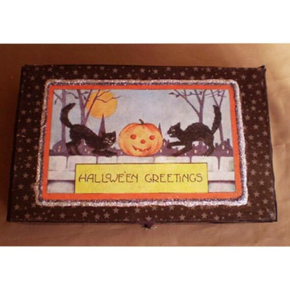 Halloween decoration vintage style retro black cats jack o lantern decoupage box decoration Halloween Artist Bazaar