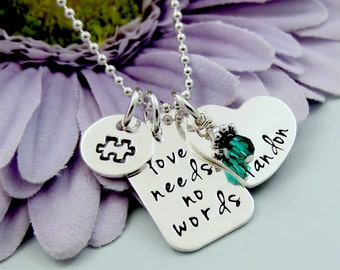 Autism Necklace - Personalized Necklace - Love Needs No Words - Necklace for Mom - Grandma - Hand Stamped Jewelry - Childs Name Birthstone