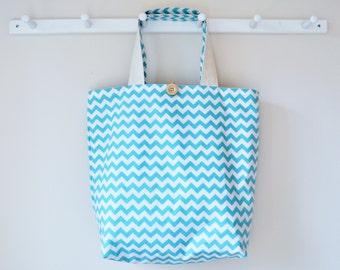 Roll Up Market Bag - Small Chevron in Aqua