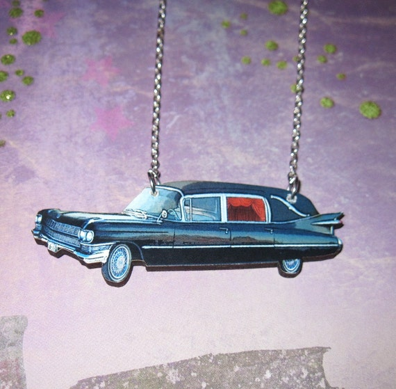 Hearse Necklace Jewelry Vintage Style Charm Retro Pendant Punk Goth Rockabilly Psychobilly Halloween Dead Death OOAK FREE SHIPPING