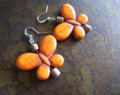 Terra Cotta Butterfly Wood and Magnesite Beaded Dangle earrings - SatinDollCo