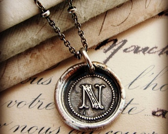 Letter N Silver Wax Seal Initial Necklace in Antiqued Fine Silver, Silver Initial Necklace