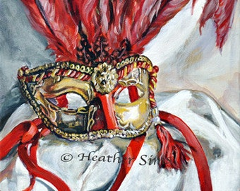 Mardi gras Mask red and gold wall art, gallery wall, Still life art print Masquerade mask print from oiginal painting modern wall art print