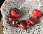 Chocolate Cherries handmade stoneware ceramic beads (6)