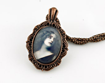 Portrait, Lady Necklace, Vintage Bronze, Fine Art Print, Photo Jewelry, Pin Up Girl