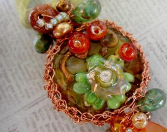 NECTAR HelensHarvest Lampwork Art Glass Bead Copper Wire Wrapped Beaded Pendant Ribbon Necklace