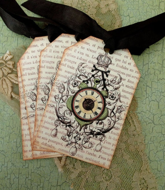 French Tags - Vintage Clock Ornament - Crown, Chateau du Temps Tags, Green - Set of 4
