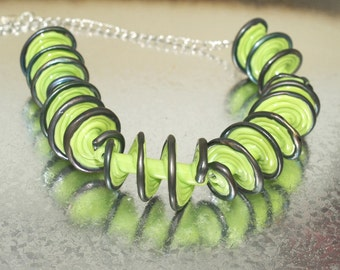 Necklace: Green Spiral Necklace - Lampwork Jewelry - Glass Bead Jewelry - Beadwork Jewelry - Elegant Jewelry - Chic Jewelry