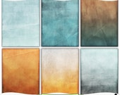 Grungy Ombre Blue and Orange Digital Prints Instant Download Set of 6 - 8.5 x 11 inch Printable Papes JPEG & PDF Commercial Use 1458