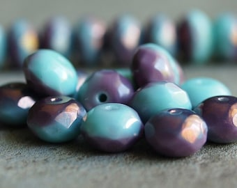 Blue Plums Czech Glass Bead 9x6mm  Faceted Rondelle : 12 pc