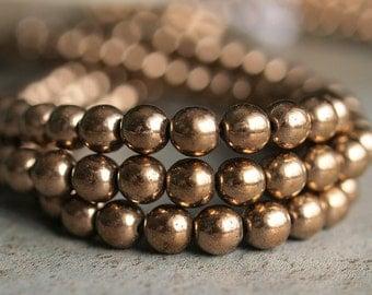 Metallic Bronze 6mm Czech Glass Bead Round Druk : 50 pc Strand 6mm Bronze Bead