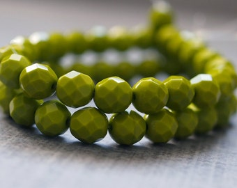 Faceted 8mm Czech Glass Bead Opaque Olive Round : 25 pc strand