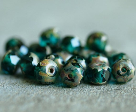 Emerald Picasso Faceted 4x6mm Czech Glass Donut Rondelle Bead : 25 pc