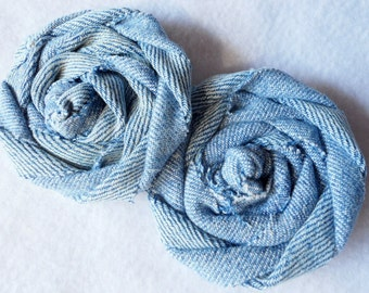 "DENIM Fabric Flowers Rolled Roses Hairbow Bride Farmhhouse Wedding 5 Rosette 2.5"" Photo Prop Birthday Party Wholesale"