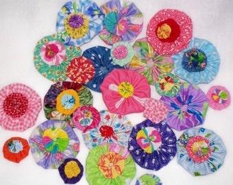 Fabric Flowers Appliques Pinwheel Button Scrapbook Embellishment Bobby Pin Trim 24