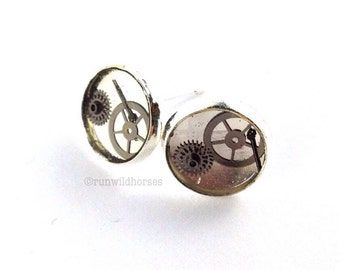 CLOSING DOWN SALE Steampunk Neo Victorian Vintage Watch Parts Silver stud Posts Earring