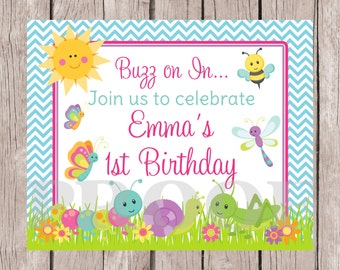 PRINTABLE Bug Birthday Sign for Girls / Cute as a Bug Sign with Butterfly, Ladybug, Caterpiller, Grasshopper / Personalized with Name & Age