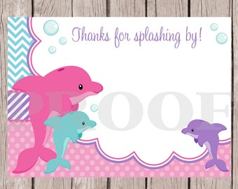 PRINTABLE Dolphin Birthday Party Thank You Card / Pink , Lavender and Blue / 4x6 Cards You Print / INSTANT DOWNLOAD