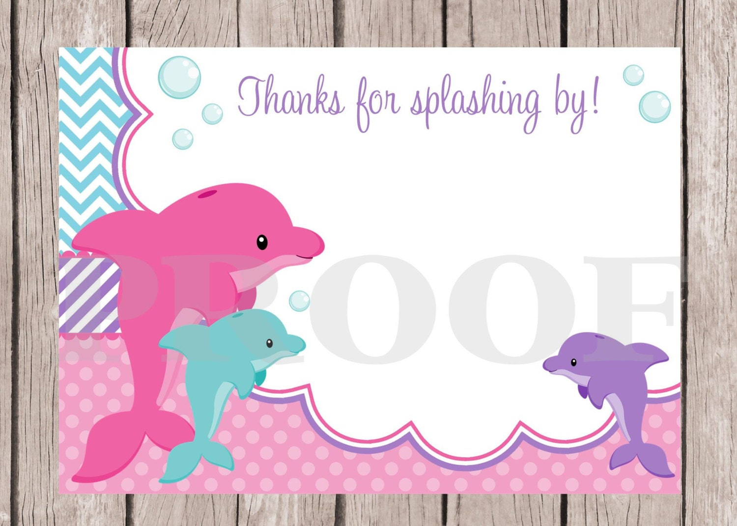 PRINTABLE Dolphin Birthday Party Thank You Card / Pink , Lavender ...