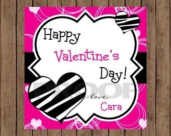 ZEBRA HEART Valentine Favor Tags / Heart Favor Tags / Valentine Favor Tags / Heart Valentine Tags / Valentine Tags / PRINTABLE / Set of 12