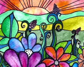 GrdenView Sun  sunset sunrise art print flowers  garden painting floral