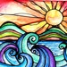Tequila Sunrise   sunset sun art print painting beach waves ocean art  print water beach painting waves print sunrise art