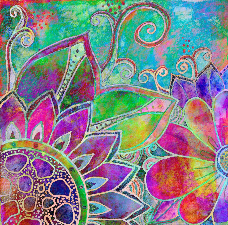 Flowers art print garden painting leaves floral design