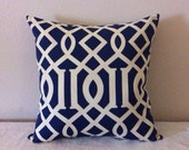 Decorative-Accent-Throw Pillow Cover  -20 inch Geometric Trellis.Cream on Navy-Free Domestic Shipping