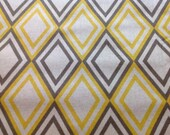 FREE DOMESTIC SHIPPING Decorative Body Pillow Cover - Approx 20 X 54 inch Geometric Diamond Yellow/Gray/Taupe on Linen Like