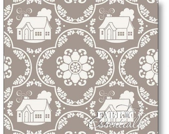 Daisy Cottage - Lori Holt Fabric From Riley Blake - Gray Houses - 2751 - 8.75 Per Yard